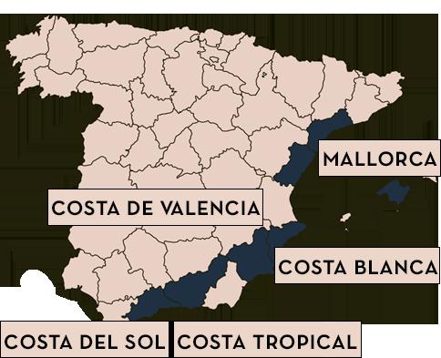 Karta Over Spaniens Vastkust.Kop Hus Eller Lagenhet I Spanien Skandiamaklarna